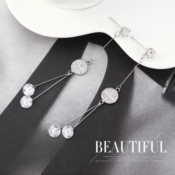 New Korean-Style Elegant Tassel Earrings Women's Fashion All-match Zircon Earrings S925 Silver Needle jewelry B-4419