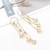 European Fashion Cool Multi-Layer Tassel Earrings Women's All-match Little Star Pearl Earrings S925 Silver Pin Jewelry B-4426