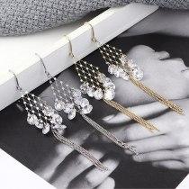 Women's Korean-Style Stylish Long Tassel Earrings Rhombus Mesh Zircon Ear Rings 139570