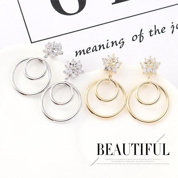 New European Creative Snowflake Zircon Earrings Women's All-match Simple Hipster Cool Ice Flower Earrings Jewelry 140381