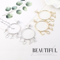 European Love Letter Earrings Female Exaggerated Simple Fashion Great Circle Earrings S925 Silver Needle Zircon Earrings B-4444