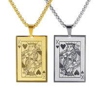 Classic All-match Poker K Men's Titanium Steel Pendant Necklace Fashion Personality Card jewelry Gb1704