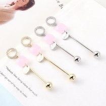 Women's Korean Fashion Elegant All-match Pink Crystal Earrings Long Asymmetric Tassel Stud Earrings S925 Silver Needle 140356