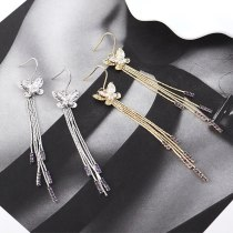 New European and American Elegant Butterfly Tassel Earrings Women Zircon All-match Fashion Jewelry B-4448