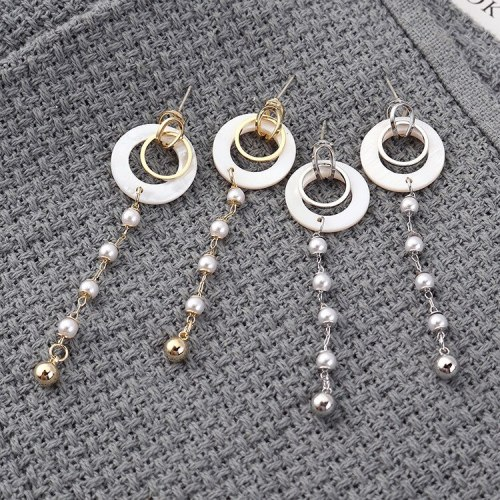 Korean Style Elegant Circle Pearl Earringgs Long Fashion All-match Tassel Earrings Women's Sterling Silver Needle 139832