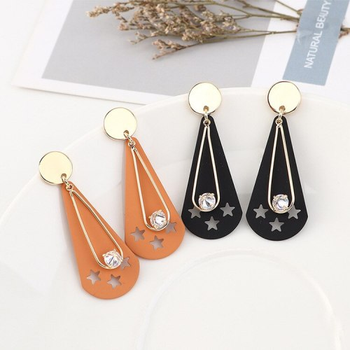 European Creative Frosted Hollow Five-Pointed Star Earrings Ladies Fashion All-match Zircon Earrings S925 Silver Needle B-4464