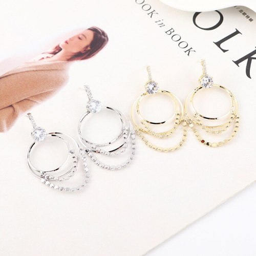 Fashion Wild Double Circle Earrings Female Creative Personality Small Sequins Earrings Jewelry Wholesale 140328