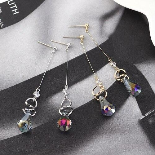 Korean Fashion Crystal Earrings Cool Temperament Long Tassel Earrings Female S925 Silver Needle B-4447