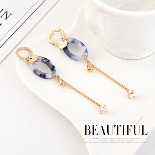 Korean Elegant Zircon Earrings Women's Fashion Acrylic Geometric Long Tassel Earrings S925 Silver Needle Ear Stud B-4462