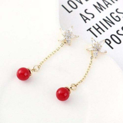 Korean Five-Pointed Star Zircon Earrings Women's All-match Fashion Exquisite Ball Earrings S925 Silver Needle B-4479
