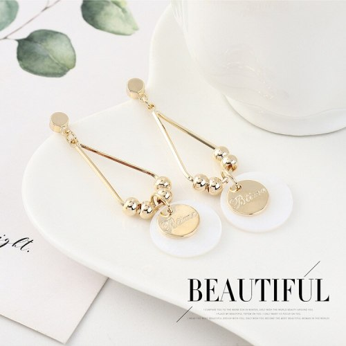 South Korea S925 Silver Pin Earrings Women's Simple Fashion All-match Small round Ear Pendant Elegant Small Jewelry B-4456