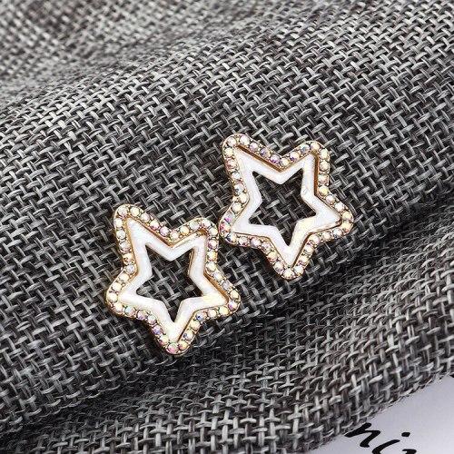 New European Simple Hipster Lovely Earrings Small Five-Pointed Star S925 Silver Needle Earrings Female Acrylic Earrings 138810