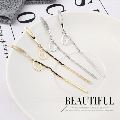925 Sterling Silver Needle Earrings Korean Fashion Temperament Long Tassel Earrings G Letter Earrings Small Jewelry 139865