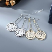 French Retro Avatar Ear Pendant Women's Simple All-match Seal Earrings S925 Silver Pin Jewelry B-4858