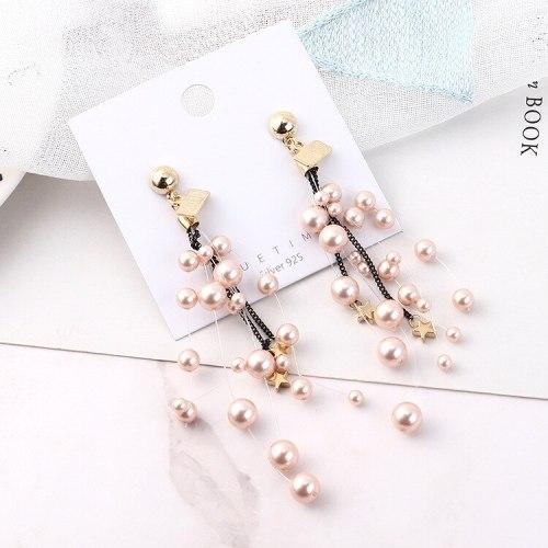 Korean Fashion Exaggerated Earrings Women's Imitation Pearl Small Star Earrings S925 Silver Needle Ear Stud Anti-Allergy 138936