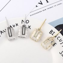 S925 Silver Needle Earrings Korean-Style Simple Geometric Square Earrings Women's Fashion Square Glass Stud Earrings 138817