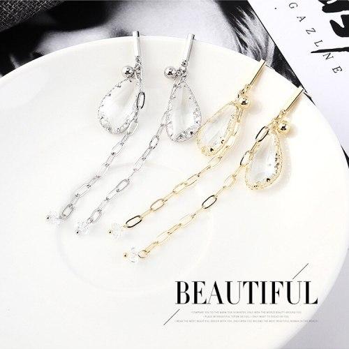 New Korean Fashion Elegant Drop Crystal Stud Earrings Female Tassel Earrings Anti-Allergy Sterling Silver Earrings 139003