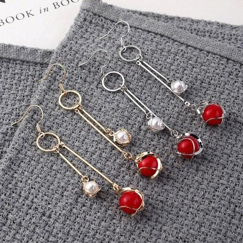 European and American Fashion Simple Christmas Earrings Female Temperament Long Pearl Ear Pendant Fashion Jewelry 139897