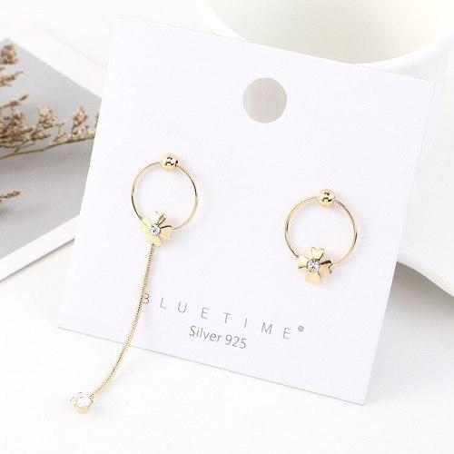European Fashion Asymmetric Clover of Four Leaves Flower Earrings Women Exaggerated All-match Temperament Earrings B-4468