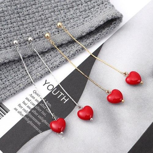 S925 Silver Korean Temperament Cute Little Red Heart Ear Pendant Long Fresh Tassel Earrings Jewelry Christmas Gift 139881