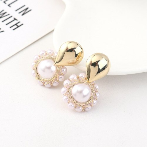 New European Retro Pearl Earrings Girls Simple Creative All-match S925 Silver Needle Earrings Jewelry Batch Hair B-4476