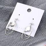 European Creative Temperament Cool Fashion Stud Earrings Women's Geometric Double Coils Zircon Earrings 138861