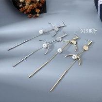 Korean Fashion Creative Asymmetric Tassel Earrings Women's Long Pearl Earrings S925 Silver Pin Small Jewelry B-4859