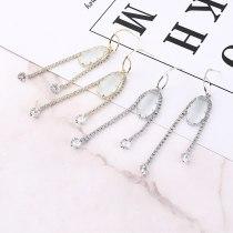New Korean Fashion Elegant Full Diamond Zircon Earrings Female Tassel Ear Stud S925 Sterling Silver Anti-Allergy Ear Stud 138826