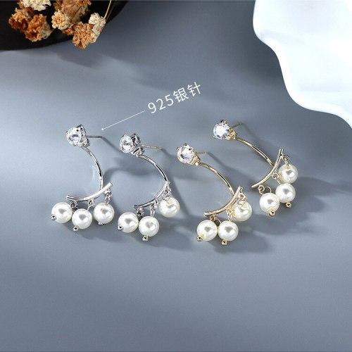 New Korean-Style Elegant Zircon Earrings Popular Back-Hanging Pearl Earrings S925 Silver Needle B-4854