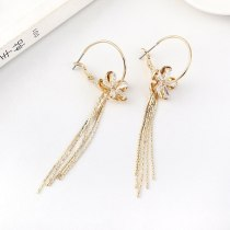 Women's Korean-Style Elegant Tassel Earrings Long Creative Fashion Flower Ear Pendant S925 Silver Needle Jewelry B-4473