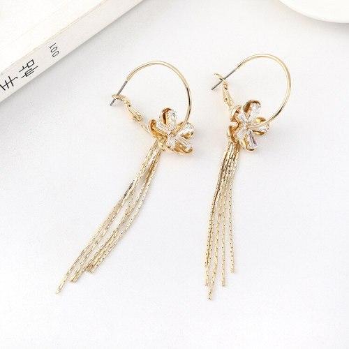 Women's Korean-Style Elegant Tassel Earrings Long Creative Fashion Flower Ear Pendant S925 Silver Needle Jewelry B-4473