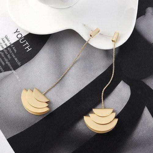 European and American Fashion Fan-Shaped Tassel Earrings Women's Long Elegant Ear Stud S925 Silver Needle B-4515