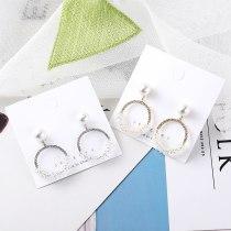 S925 Silver Needle Earrings European Exaggerated Diamond Set Pearl Earrings Female Round Stud Earrings Jewelry 138717