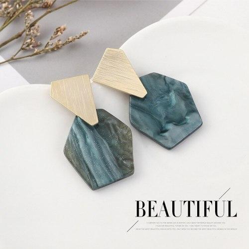 Korean Creative Fashion Acrylic Earrings Female Cool Irregular Geometric Resin Stud Earrings S925 Silver Needle B-4516