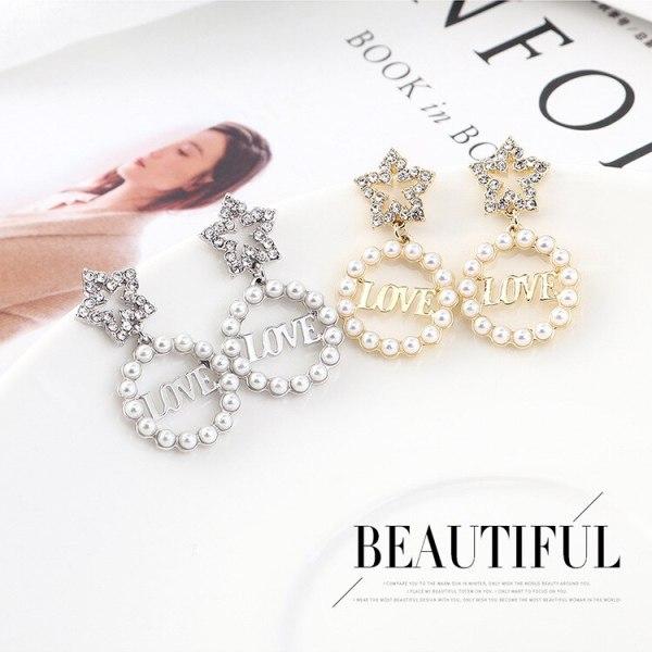 Korean Fashion Cool Love Lettered Earrings Female Five-Pointed Star Pearl Earrings S925 Sterling Silver Needle Earrings 138937