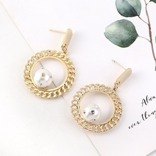 European and American Elegant Pearl Earrings Retro French All-match Cool Circle S925 Sterling Silver Pin Small Jewelry B-4484