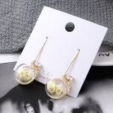 Korean Cute Jewelry Girl's Heart Candy Transparent Glass Ball Stud Earrings Hipster Lemon Earrings Sterling Silver Pin 138869