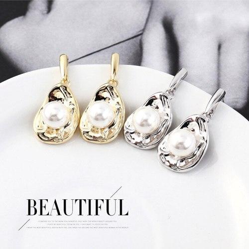 Korean All-match Fashion Drop-Shaped Earrings Female Korean Lotus Leaf Pearl Earrings S925 Sterling Silver Earrings 138993