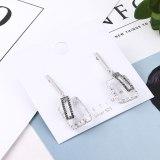 S925 Silver Needle Earrings Korean-Style Simple Geometric Square Earrings Women's Fashion Square Glass Stud Earrings 138817