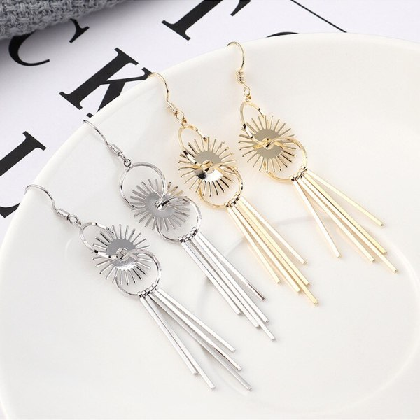 Korean Style Fashion All-match Electronic Heater Circle Earrings Women's Simple Long Stud Earrings 139925