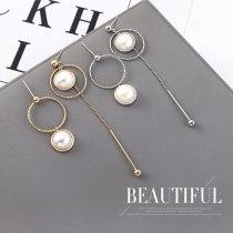 Fashion Asymmetric Tassel Earrings Women's Long All-match Elegant Circle Pearl Earrings S925 Silver Needle Jewelry 140348