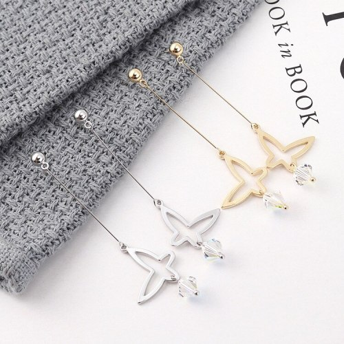 Fashion All-match Butterfly Earrings Girl Hipster Simple Long Crystal Earrings Anti-Allergy Sterling Silver Earrings 139915