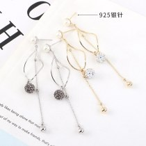 S925 Needles Ear Stud Korean Temperament Long Tassel Earrings Female Fashion Small Ball Ear Pendant Ornament 140338