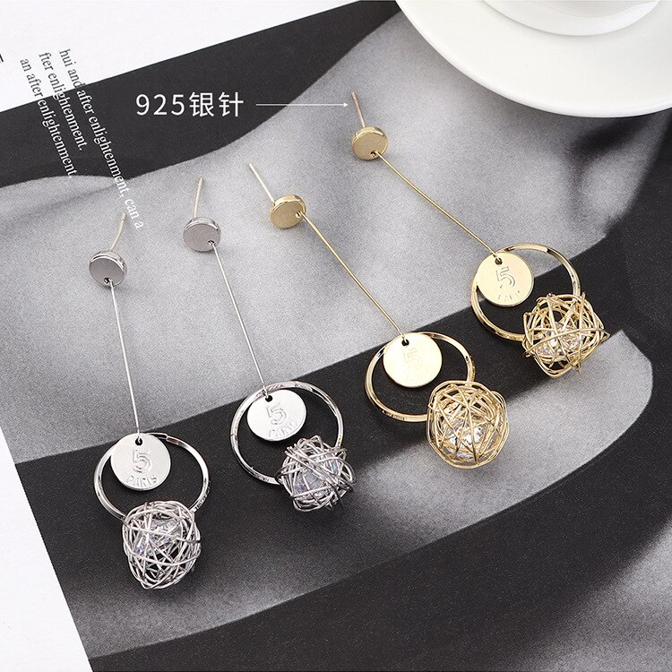 Korea Temperament Creative Long Tassel Earrings Fashion Pellets Zircon Earrings S925 Needles Jewelry 140350