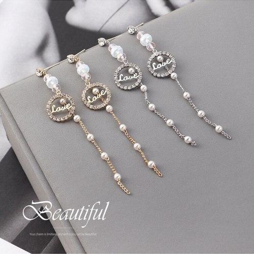 Korean Elegant Fashion Long Tassel Love Letter Earrings Circle Zircon Earrings Women's Sterling Silver Pin Small Jewelry 140017
