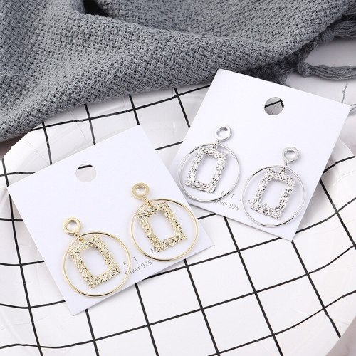 European New Exaggerated Cool Gold-Plated Earrings Women's Simple Circle Hollow Relief Geometric Earrings Silver Pin 138899