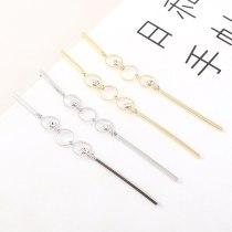 Korean Fashion Hipster Simple Tassled Earrings Women's Long Versatile Zircon Earrings S925 Silver Pin 140326