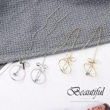 New Korean-Style Creative Fashion Bow Zircon Earrings Women's Long Elegant Tassel Earrings Hanging Earrings 138884