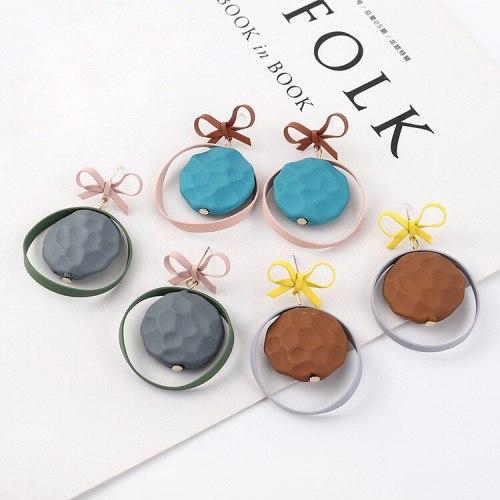 Korean Fashion Creative Scrub Bow Earrings Female Cute Oval Stud Earrings S925 Silver Needle Earrings 139584