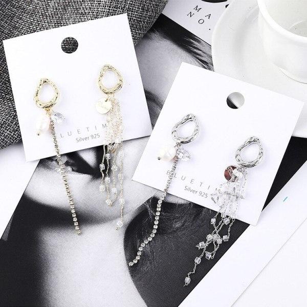 New Korean Fashion Elegant Pearl Earrings Female Irregular Tassel Ear Stud S925 Sterling Silver Ear Stud 139006